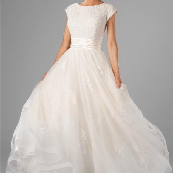 edc31b2a24f Custom made Modest Wedding Dress Lorelai sleeves